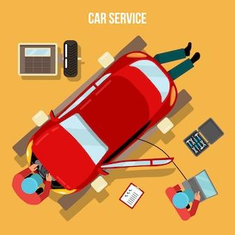 Car service. car repairs and diagnostics. auto maintanence. serviceman at work. vector illustration