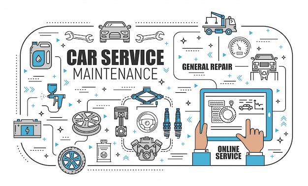 Car service center, online mechanic maintenance