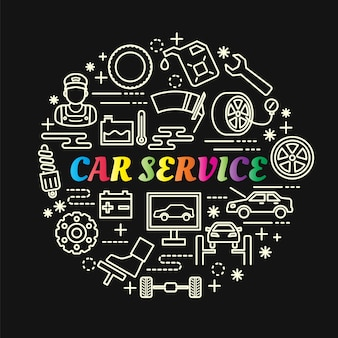 Car service colorful gradient with line icons set