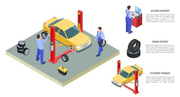 車のサービスの概念。ベクトル車両とタイヤサービスの等角図。技術者は自動車産業機器で車を修理します。ガレージ業界での自動車修理、診断サービスステーション