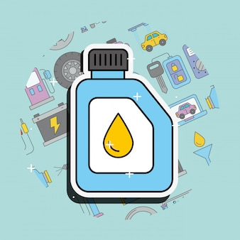 Car service engine oil lubricant canister