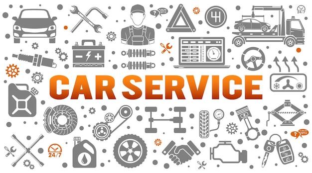 Автосервис горизонтальный баннер. диагностика, ремонт автомобилей, автосервис, шиномонтаж, афиша, сайт, реклама. плоские значки, такие как механик, эвакуатор, свеча зажигания. изолированные векторные иллюстрации