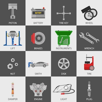 Car service icons set with repairmen auto details instruments