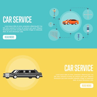 Car service illustration and banner template