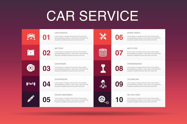 Car service infographic 10 option template. disk brake, suspension, spare parts, transmission simple icons