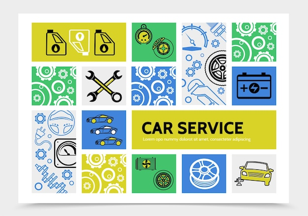 Car service infographic template with oil brake disc speedometer battery wrenches tire steering wheel