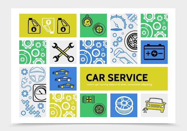 Шаблон инфографики автосервиса с масляным тормозным диском спидометр аккумуляторные ключи шина рулевого колеса