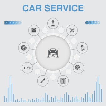 Car service infographic with icons. contains such icons as disk brake, suspension, spare parts, transmission