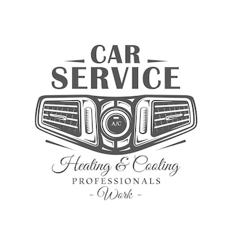 Car service label isolated on white background