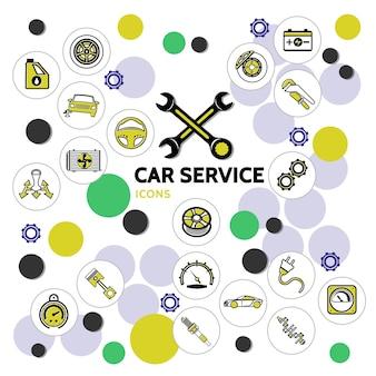 Collezione di icone di linea di servizio auto con olio motore, chiavi per automobili, ingranaggi e parti di automobili