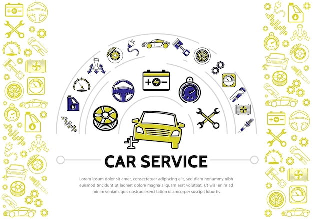 Car service line icons composition with shock absorber oil speedometer transmission brake disc piston