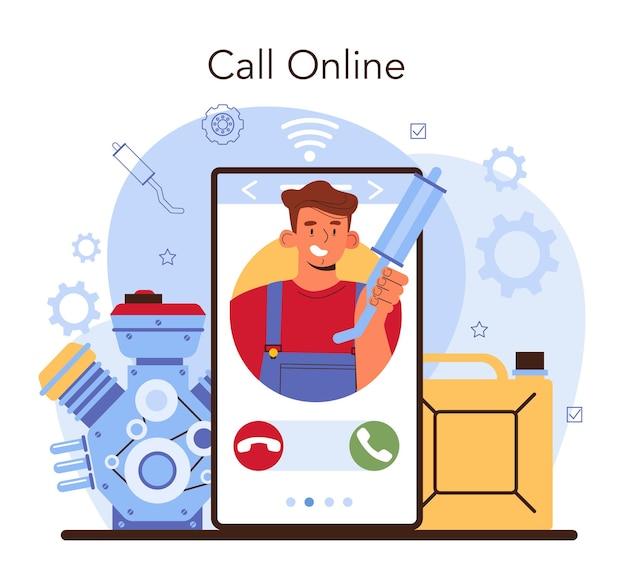 Онлайн-сервис или платформа автосервиса. механик в униформе проверяет топливную и климатическую системы автомобиля и ремонтирует его. онлайн-консультация, звонок, видеоурок, сайт. плоские векторные иллюстрации.