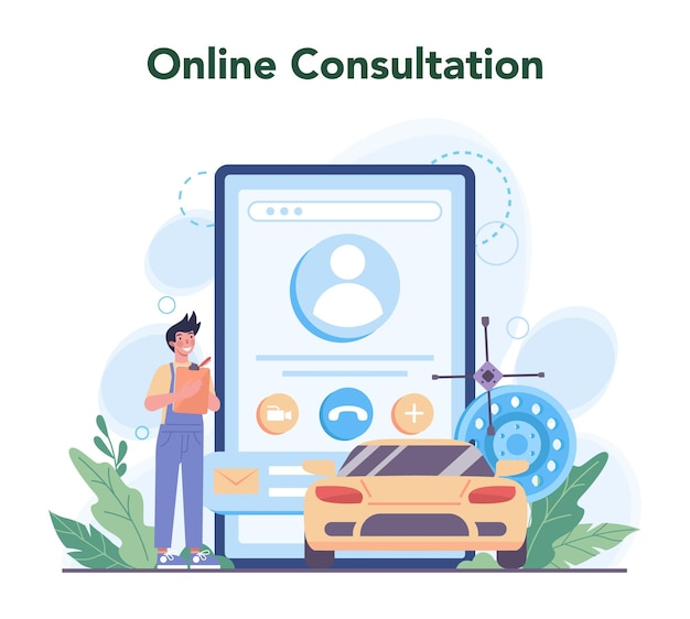 Car service online service or platform. people repair car
