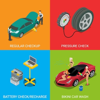 Car service regular checkup pressure check battery recharge bikini car wash