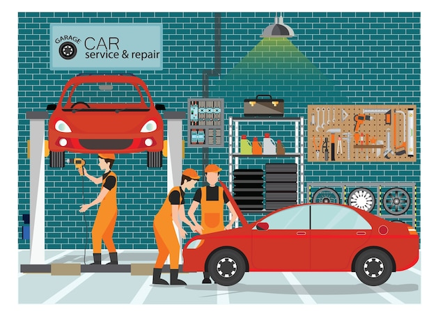 Car service and repair center or garage with worker