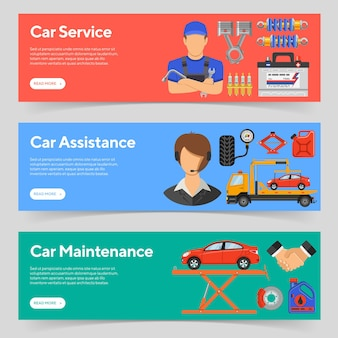 Car service, roadside assistance and car maintenance horizontal banners with flat icons mechanic, support and tow truck. isolated vector illustration