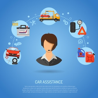 Car service, roadside assistance and maintenance banners with flat icons operator, car repair, tire service, support and tow truck. vector illustration