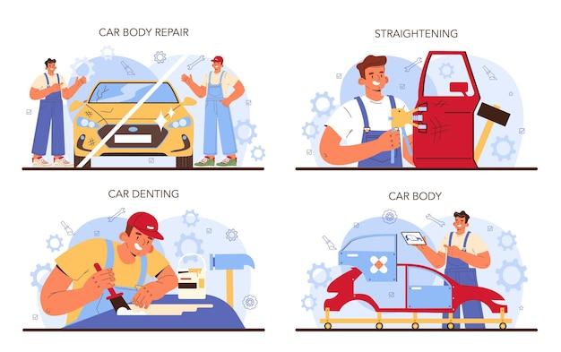 자동차 서비스 세트 자동차는 제복을 입은 차고 정비공에서 고정되었습니다.