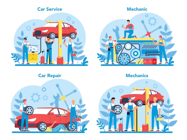 Car service set. people repair car using professional tool. idea of auto repair and diagnostic. wheel and oil icon, engine and fuel.
