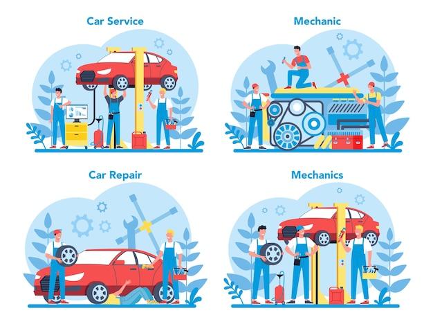 Набор автосервисов. люди ремонтируют автомобиль с помощью профессионального инструмента. идея ремонта и диагностики авто. значок колеса и масла, двигателя и топлива.
