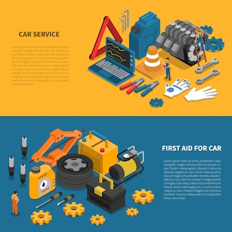 Car service tools isometric banner set