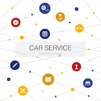 Car service trendy web template with simple icons. contains such elements as   disk brake, suspension, spare parts, transmission