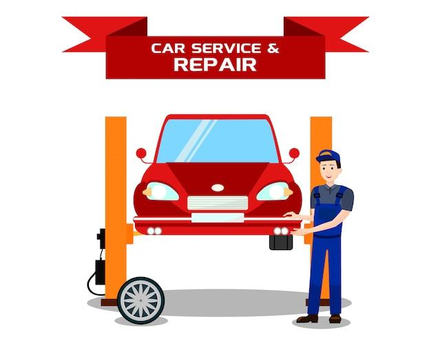 Car service, vehicle repair flat