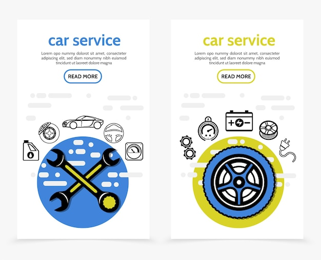 Car service vertical banners with wrenches motor oil brake disc automobile steering wheel speedometer