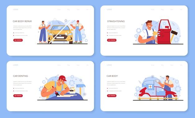 자동차 서비스 웹 배너 또는 방문 페이지 집합입니다. 자동차는 차고에서 고쳤습니다. 제복을 입은 정비사가 차량을 확인하고 수리합니다. 교정 및 자동차 찌그러짐. 평면 벡터 일러스트 레이 션.