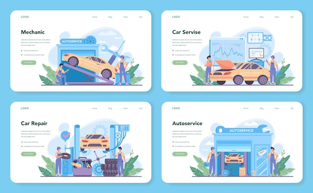 Car service web template or landing page set. people repair car