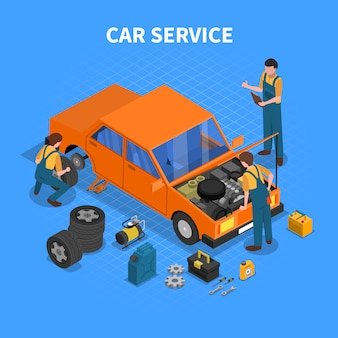 Car service work process isometric