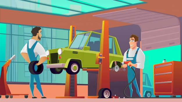 Car service workers at workshop cartoon