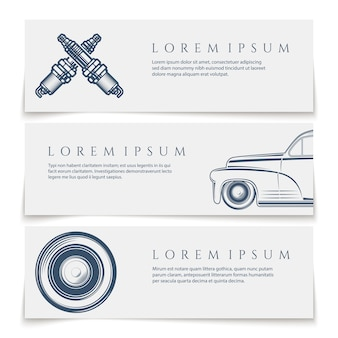 Car services banners, logos,  on white background.  illustration