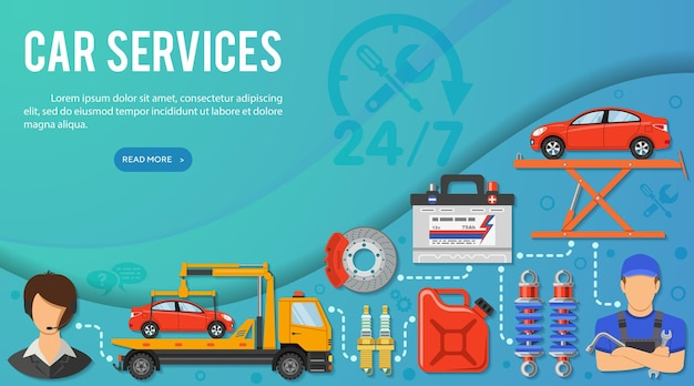 Концепция автомобильных услуг для буклета, веб-сайта, рекламы с плоскими значками, такими как поддержка, эвакуатор, аккумулятор, бензобак и механик. векторная иллюстрация