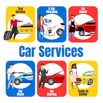 Car services flat color vector informational infographic template. auto business. poster, booklet, ppt page concept design with cartoon characters. advertising flyer, leaflet, info banner idea