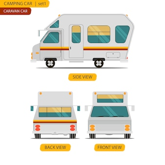 Car set for camping caravan with three views