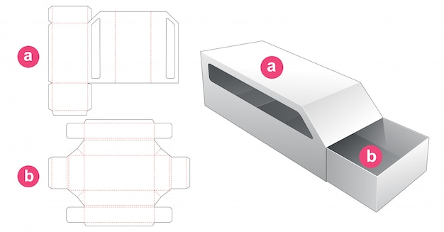 Car shaped packaging box with cover die cut template