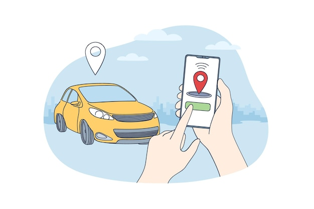 자동차 공유 및 온라인 응용 프로그램 개념.