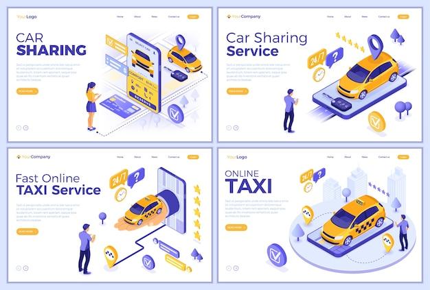 カーシェアリングとオンラインタクシーのランディングページテンプレート。オンラインの男と女は、カーシェアリングやタクシーのために車を選びます。オートレンタル、カープール、モバイルアプリケーションで共有。等尺性