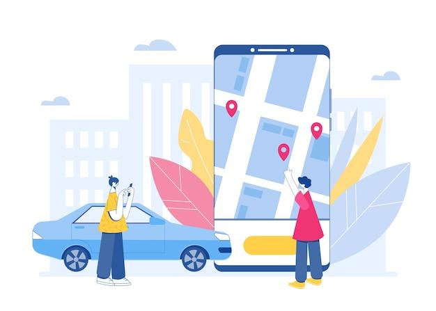 カーシェアリングとオンラインタクシーサービスのコンセプト。車を借りてタクシーを呼ぶためのモバイルアプリケーション。