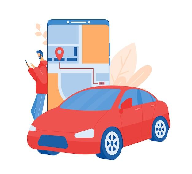 자동차 공유 및 온라인 택시 서비스 개념. 자동차 렌트 및 택시 호출을위한 모바일 애플리케이션입니다.