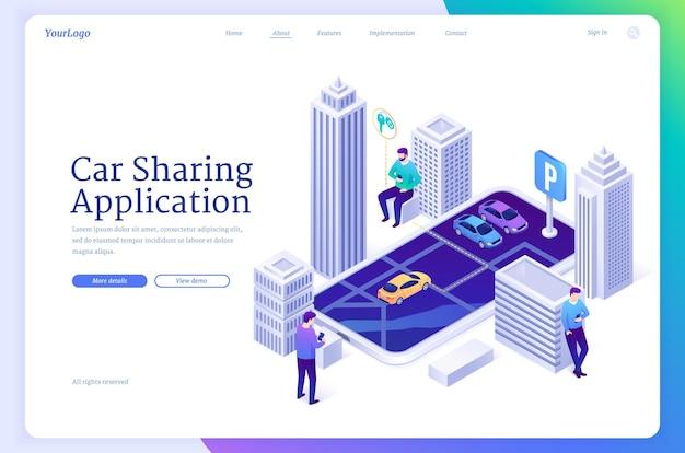 Pagina di destinazione isometrica dell'applicazione di car sharing