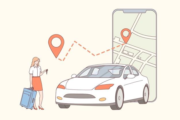 자동차 공유, 응용 프로그램, 온라인 임대 개념 그림