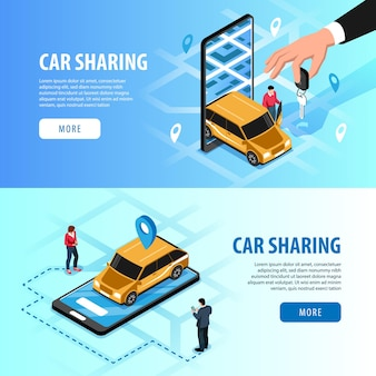 Car sharing automatic access via smartphone horizontal isometric web banners with  handing key app