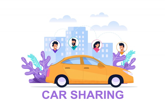 Car sharing banner with people location icon
