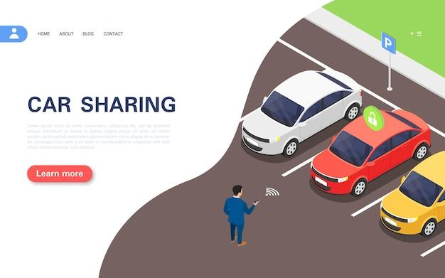 カーシェアリングコンセプトバナー。アプリケーションを使用している男性が、駐車場でレンタル用の車を選択します。ベクトル等角図。