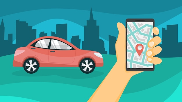 자동차 공유 개념. 휴대폰의 앱으로 자동차를 예약하세요. 온라인 운송 서비스. 여행 개념. 삽화