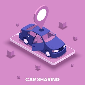 Car sharing concept with location and driving symbols isometric