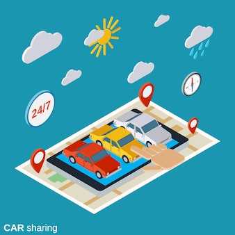 Car sharing flat 3d isometric concept illustration
