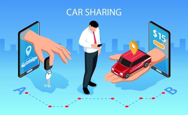 カーシェアリングの水平アイソメトリック構成とモバイルスマートフォンアプリが車両のキーを顧客のイラストに引き渡す